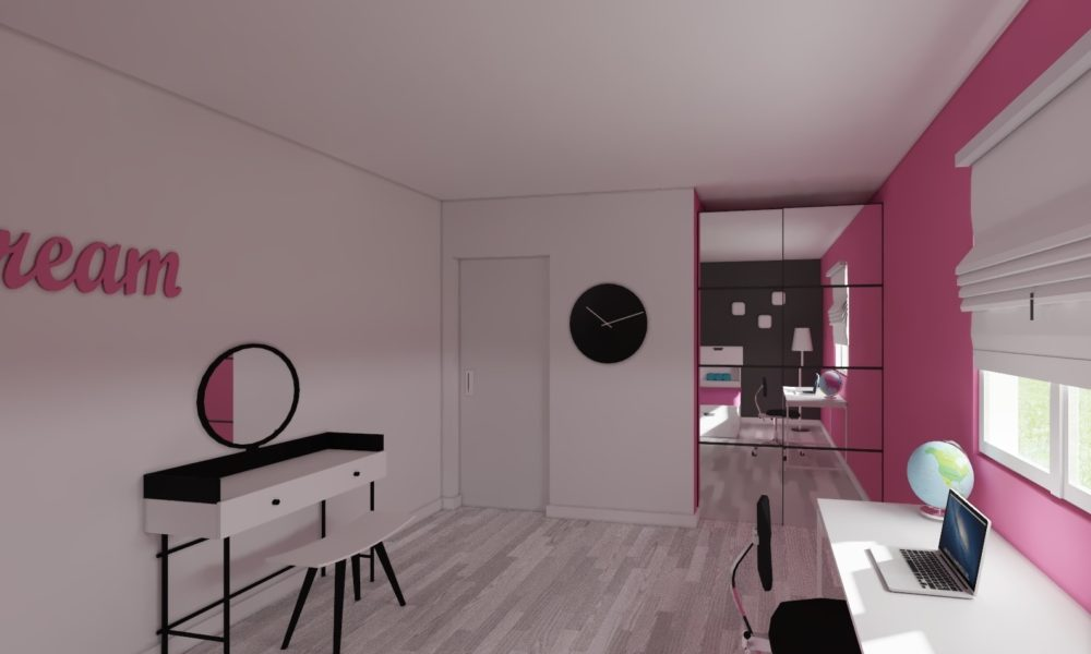 vues 3d chambre girly