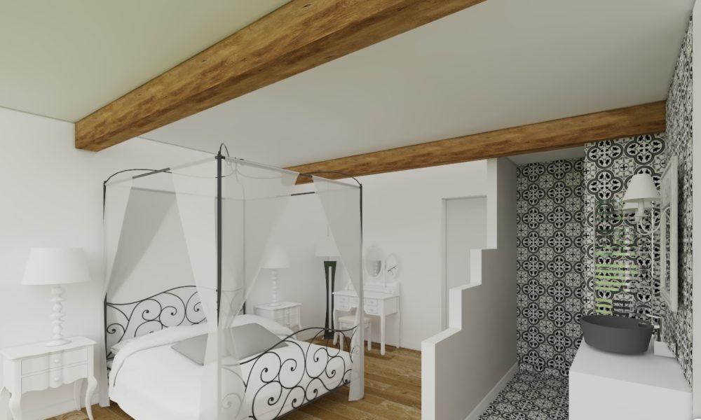 plan 3d chambre élégante