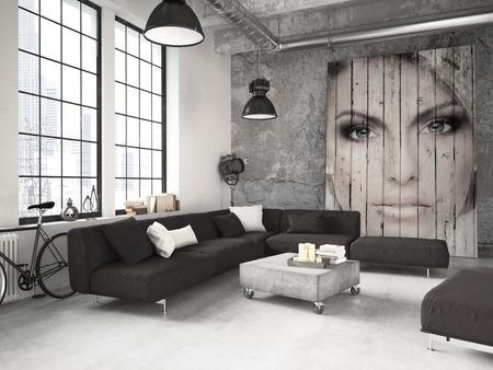Séjour à la décoration intérieur industrielle