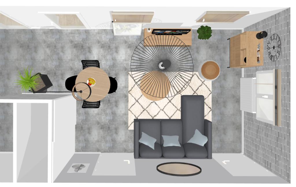 Plan d'améangement séjour contemporain/industriel