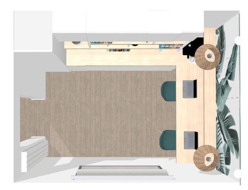 transformation d'une cuisine en bureau par architecte en ligne