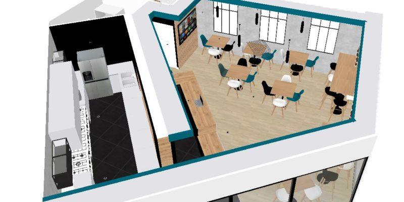 Plan 3D aménagement restaurant